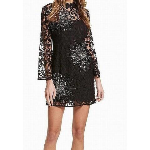 Free People Deep Black Womens Size 6 Sequined Lace Sheath Dress