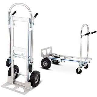 Costway 2in1 Aluminum Hand Truck Convertible Folding Dolly Platform Cart 770LBS Capacity - Sliver