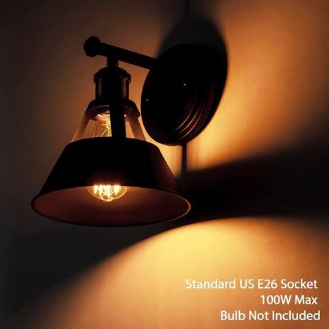 2 pack metal black wall light industrial arm wall lantern