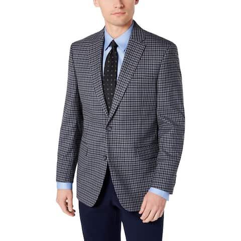 Tommy Hilfiger Mens Sportcoat Plaid Modern Fit - Light Grey/Blue