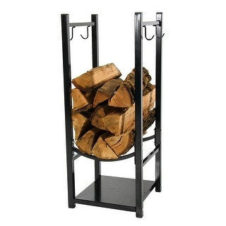 Sunnydaze Indoor/Outdoor Fireside Log Rack with Tool Holders, 13 Inch Wide x 32 Inch Tall - Black
