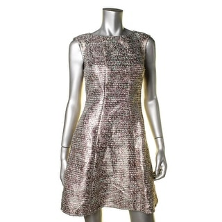 Tahari ASL Womens Petites Valerie Cocktail Dress Metallic Sleeveless