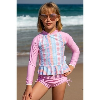 Sun Emporium Arabella Print Long Sleeve Rash Guard Boyleg Set Little Girls