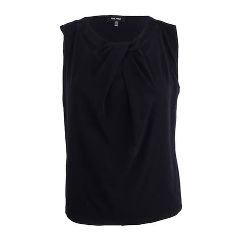 Nine West Women's Plus Size Criss Cross Cami Top (3X, Black) - Black