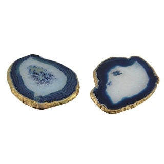 Blue Polished Brazilian Agate Slice Golden Gilded Edge Stone Coaster