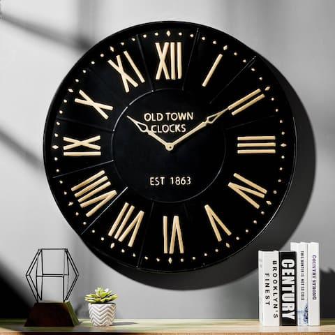Glitzhome Modern Farmhouse Metal Enamel Wall Clock
