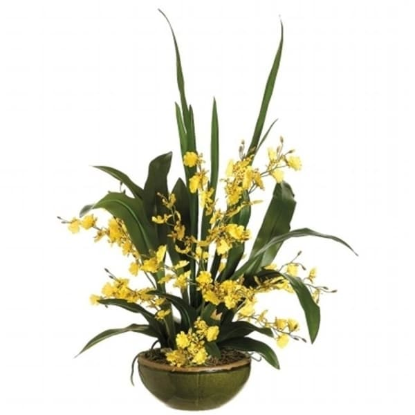 Allstate Floral WF3410-YE 26 in. Hx21 in. Wx21 in. L Oncidium Orchid in Bowl Yellow