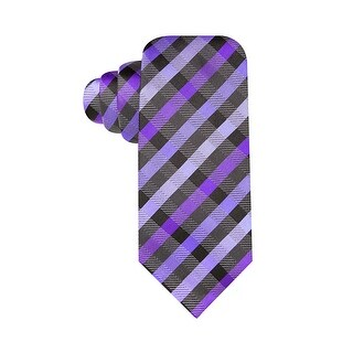 Alfani Spectrum Hand Made Monroe Gingham Slim Silk Tie Purple and Charcoal