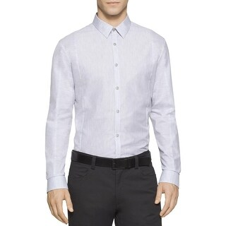 Calvin Klein Mens Button-Down Shirt Heathered Long Sleeves
