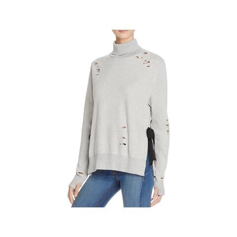 Pam & Gela Womens Sweatshirt Destroyed Turtleneck