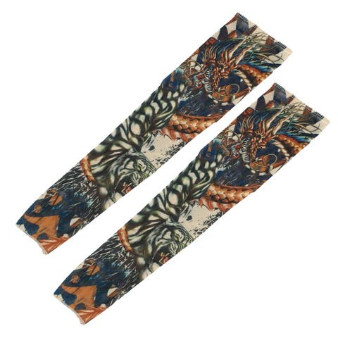 1 Pair Summer Elastic Dragon Pattern Sun Protection Tattoo Arm Sleeves