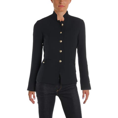 Tahari ASL Womens Petites Blazer Button Front Office