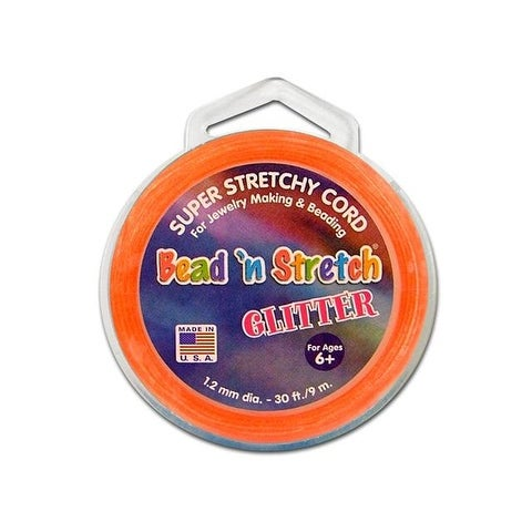 Toner Bead N Stretch Cord 1.2mm Glitter Orang 30ft