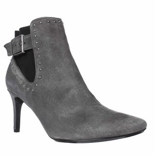 Calvin Klein Jozie Pointed Toe Ankle Booties, Shadow Grey/Black