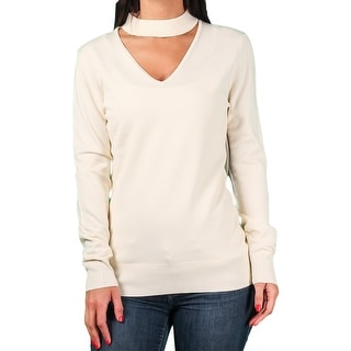 Ally NYC Ladies Keyhole Choker Neck Sweater