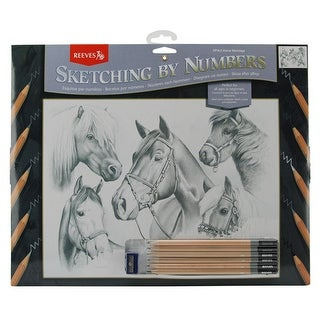 """Sketching By Number Kit 12""""X16""""-Horse Montage - horse montage"""