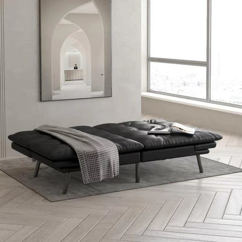 SMUGDESK Futon Sofa Bed Memory Foam Couch Sleeper Daybed Foldable Convertible Loveseat, Twin, Black