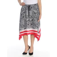 RALPH LAUREN Womens Black Printed Midi Skirt Petites  Size: 8