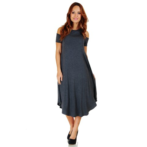 Simply Ravishing Women's Cold Shoulder Short Sleeve Rounded Hem Mid-Length Dress (Size: S-5X)