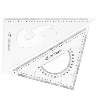 Unique BargainsOffice Plastic Draft Drawing Right Angle Triangle Ruler Combo Protractor 2 in 1