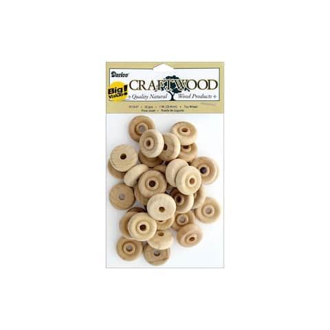 "Darice Craftwood Wood Toy Wheel Big Value 1"" 32pc"