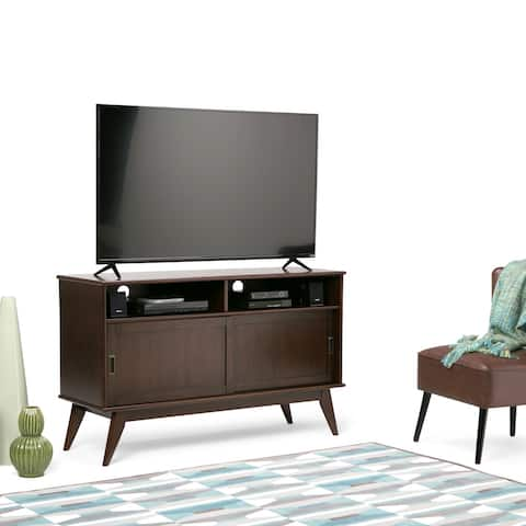 """WYNDENHALL Tierney SOLID HARDWOOD 54 inch Wide Mid Century Modern TV Media Stand For TVs up to 60 inches - 54""""w x 18""""d x 33"""" h"""