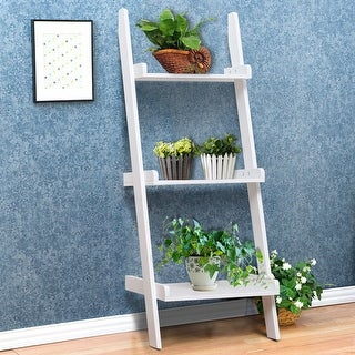 Gymax 3 Tier Book Shelf Leaning Wall Ladder Storage Rack Display Furniture White