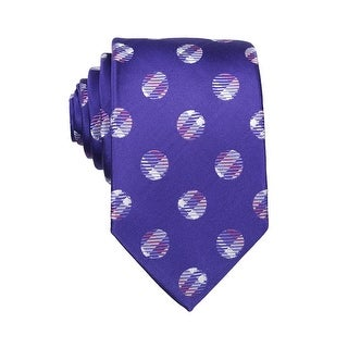 Nick Cannon Mens Polka Dot Classic Silk Tie Necktie Purple and Grey