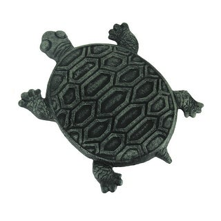 Set of 4 Cast Iron Turtle Garden Stepping Stones Step Tiles - 0.75 X 12.75 X 9.75 inches