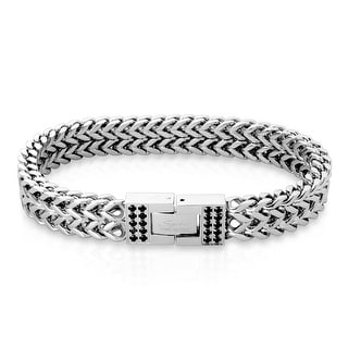 """Black CZ on Clasp Double Line Square Italian Curb Chain Bracelet - 8.5"""" (Sold Ind.)"""