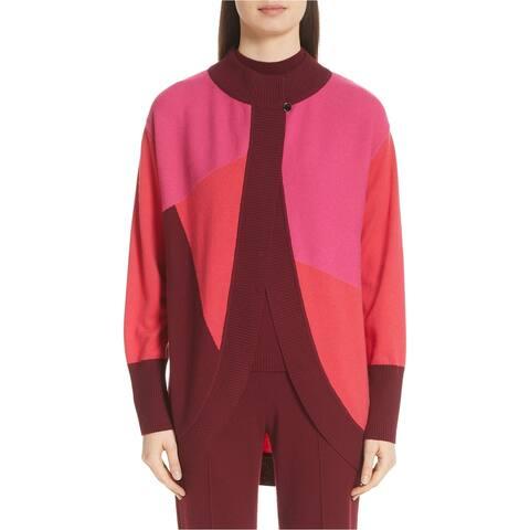 St. John Womens Colorblocked Cardigan Sweater, pink, P