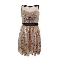 Crystal Doll Juniors' Sequin Mesh A-Line Dress - blush - 1