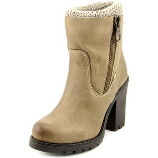 Steve Madden Sweaterr Women Round Toe Leather Gray Ankle Boot