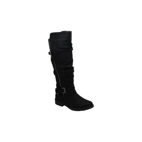 Xoxo Womens Miles Fabric Closed Toe Knee High Riding Boots
