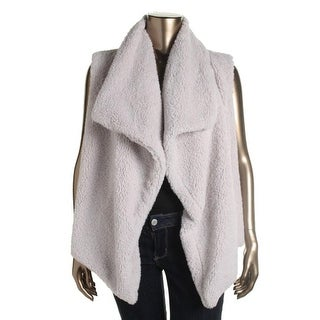 BB Dakota Womens Plus Cable Knit Open Front Vest - 2X