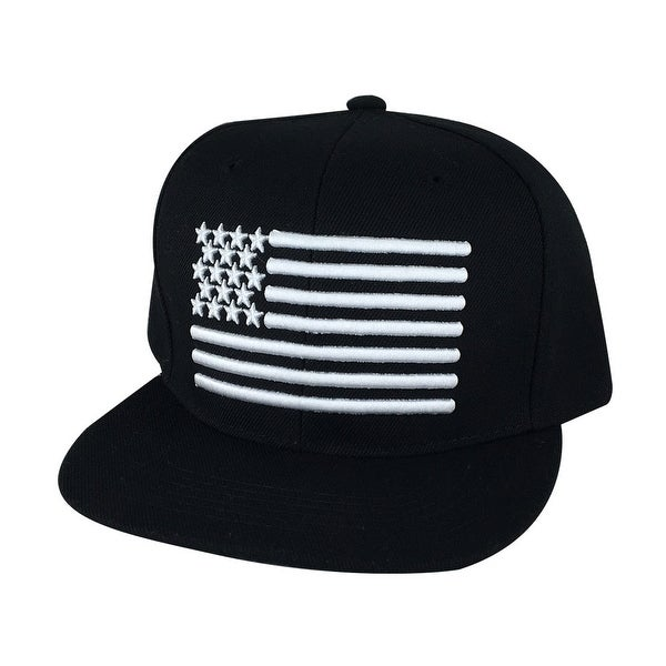 USA Flag Snapback Hat Cap by CapRobot - Black White
