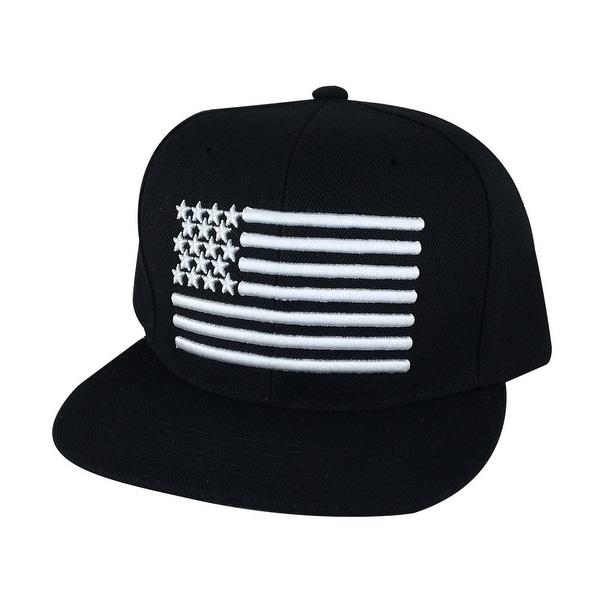 USA Flag Snapback Hat Cap by CapRobot - Black White