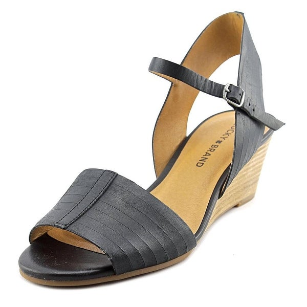 Lucky Brand Jimbia Women Open Toe Leather Black Wedge Sandal