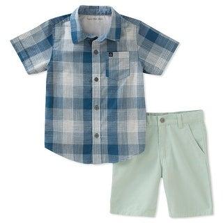 Calvin Klein Kids Boys 4-7 Plaid Shirt And Short Set - Blue