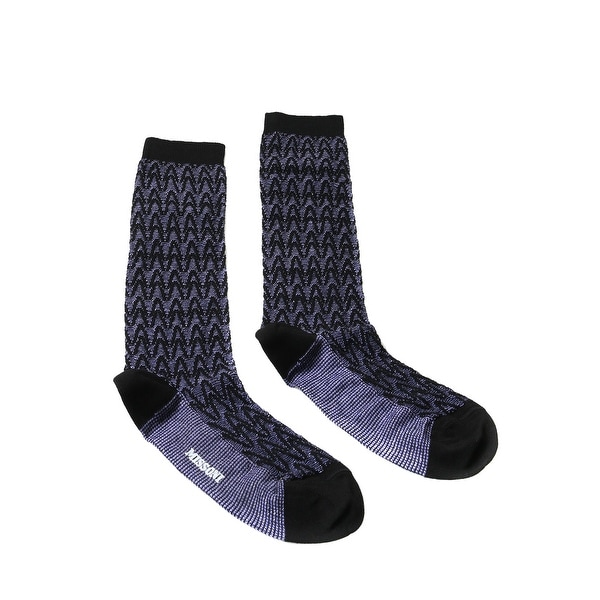 Missoni GM00CMD5227 0002 Purple/Black Calf Length Socks - M
