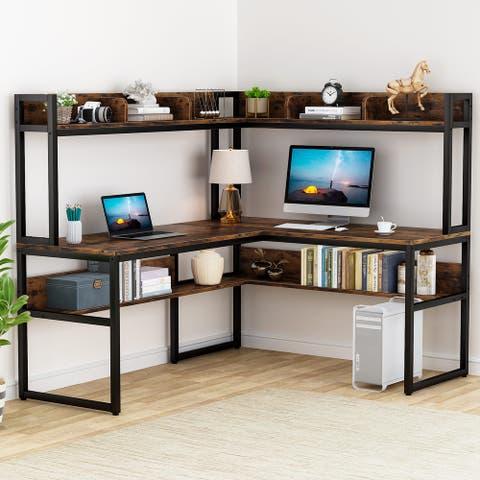 L-Shaped Desk with Hutch & Storage Shelves, 65'' Corner Computer Desk