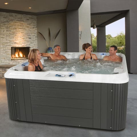 Essential Hot Tubs Sequoia 90-Jet Lounger Spa in Grey - 91x91x40