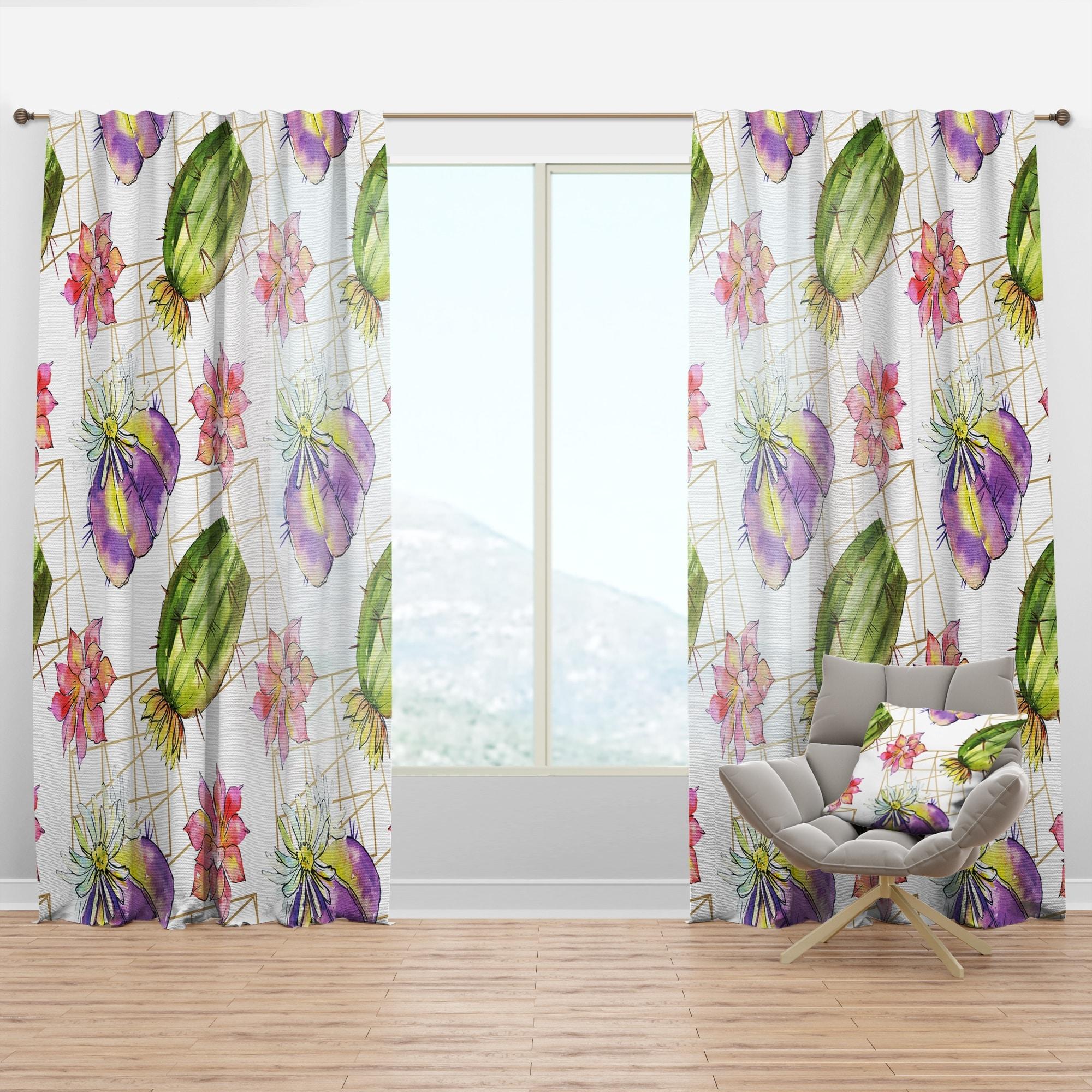 Shop Designart Green Cactus Pattern Mid Century Modern Curtain Panel Overstock 29625935