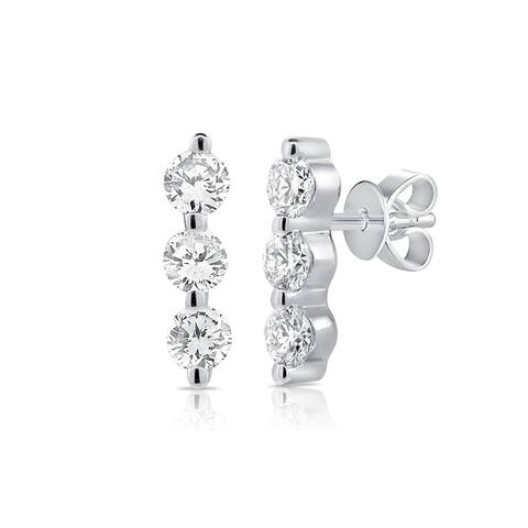 Diamond 3 Stone Bar Earrings 0.20Ct 14K White Gold Stud Earring by Joelle Collection