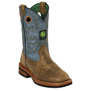 John Deere Boys Girls Blue Top Leather Toddler Boots 8.5-10.5