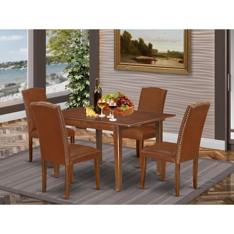 Rectangle 42/54 Inch Table and Parson Chairs in Brown Faux Leather (Number of Chairs Option)