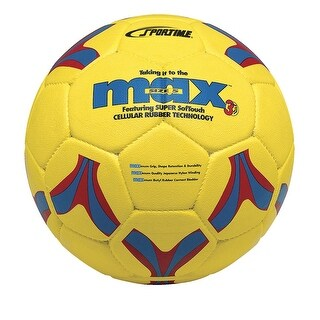 SportimeMax No 5 ProRubber Soccer Ball, Yellow with Red-and-Blue Linear Design