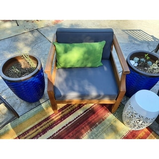 Aston Outdoor Modern Acacia Cushioned Club Chairs (Set of 2) by Christopher Knight Home