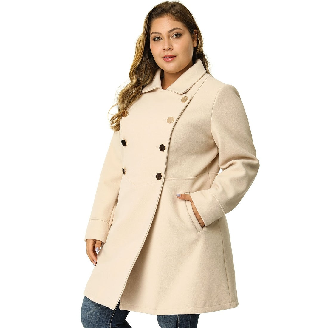 where to buy super cheap beauty Women's Plus Size A Line Turn Down Collar Double Breasted Coat