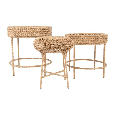 Woven Water Hyacinth & Rattan Accent Tables (Set of 3 Sizes)